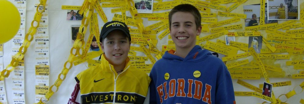 Jimmy and Willie at the Portland LIVESTRONG Challenge. Jimmy is on the left wearing a LIVESTRONG vest; Willie is on the right wearing a Florida Gators blue hoodie