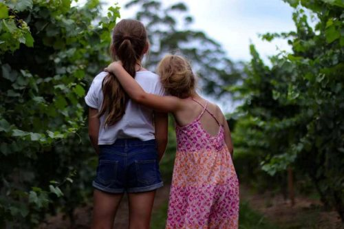 Two sisters standing with their backs to the camera. The one on the left is wearing a white shirt and blue shorts. The one on the left has a pink and orange dress on and her left arm around her sister.
