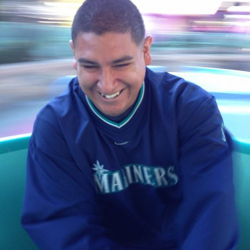 Rudy wearing a Seattle Mariners pullover