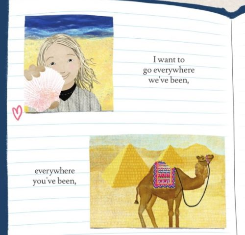 An illustration from the book. The top picture shows the girl holding a pink sea shell standing on the beach with the ocean behind her; the bottom illustration is of a camel standing in front of several pyramids