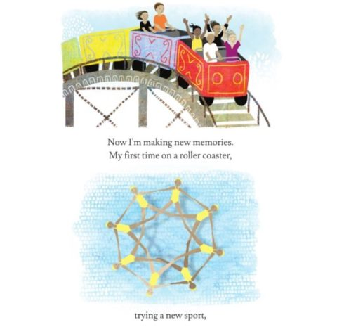 An illustration from the book. The top illustration is of children on a roller coaster with red, purple and yellow cars; the bottom illustration is of synchronized swimmers forming a star in the pool