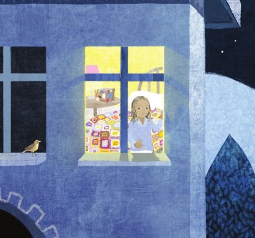 Artwork from The Memory Box. The image is of a little girl in a brightly lit window standing in front of a bed with a handmade quilt on it. There's a bird on the window sill of the window next to her.