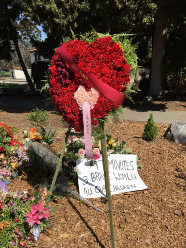 Memorial at the Veterans Home with a red heart wreath and pink ribbon that says Cecilia Rose for the woman who was killed and her unborn child