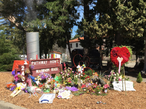 Memorial at the Yountville veterans home for the five people who were shot and killed