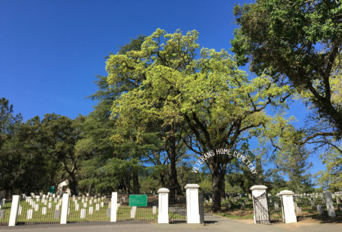 Veterans Home Cemetery in Yountville. Photo is of the entrance with large trees and white tombstones behind the wrought iron and white pillar fence