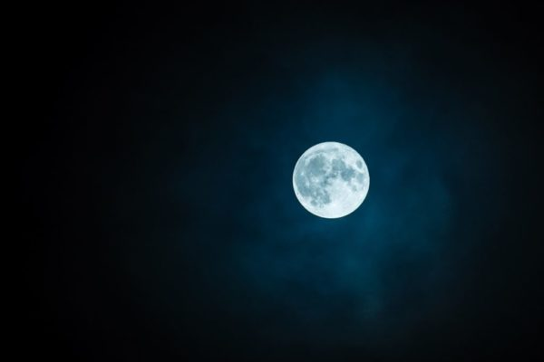 White full moon against a dark night sky