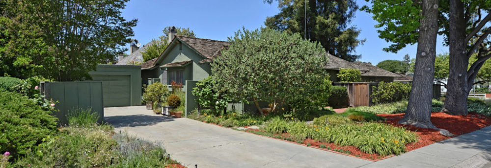 View of Hurst Avenue from the side. The driveway is in the foreground with the green house in the background, largely hidden by bushes. The redwood trees are behind it and the liquid amber trees are to the left.