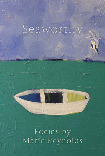 The cover of Seaworthy -- the top half is blue sky and horrizon; the bottom half is green water with a white boat with blue in the front, black in the middle and yellow in the back.