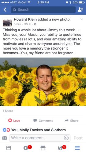 Photo of Jimmy wearing a yellow sweatshirt standing in the middle of a field of sunflowers with a message from Howard about how much he misses him.