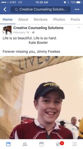 """Photo of Jimmy in his Stanford bike jersey wearing his LIVESTRONG cap, posted on Creative Counseling's Facebook page with the quote """"Life is so beautiful. Life is so hard."""" Kate Bowler"""