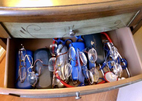 A drawer full of Jack's glasses