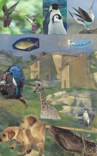 Margo's Collage For the Soul Card. The backdrop image is a Cezanne painting of house with rocks below it. In the top left, there are two hummingbirds. In the top middle, there are two penguins (a parent & a chick). In the top right, there's a blue footed booby. There's a tropical fish below the hummingbirds and the words 'Christchurch' below the blue footed booby. In the middle on the left, there's a bluebird feeding a chick. There's a giraffe in the middle with a dancing penguin on the right. In the bottom left, there are two labrador puppies, and there's a snake on the lower right.