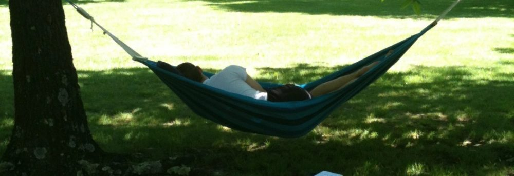 Jordan asleep in the hammock. He's wearing a white t-shirt and facing away from the camera. Behind him, there's a red barn like structure and trees in the distance. His book is on the lawn which stretches to the barn like structure.