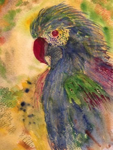 Watercolor parrot with a magenta beak and eye, a blue breast and green and blue feathers. The bird's head is blue and purple and the background behind him is yellowish with some small spots of green and hints of blue and magenta