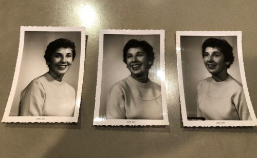 Three black and white Polaroids of the author's mother. She has a light colored blouse on and short dark hair.