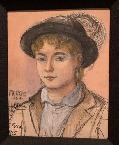 Margo drawn like a Holbein (the artist). Barbara sketched me with a hat with a big feather in the back, a round white color blouse and a tan jacket