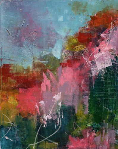 Tamara's painting with blue in the top left with red, pink, teal and red below it