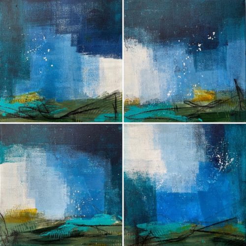 Four square paintings with white, light blue, dark blue, teal
